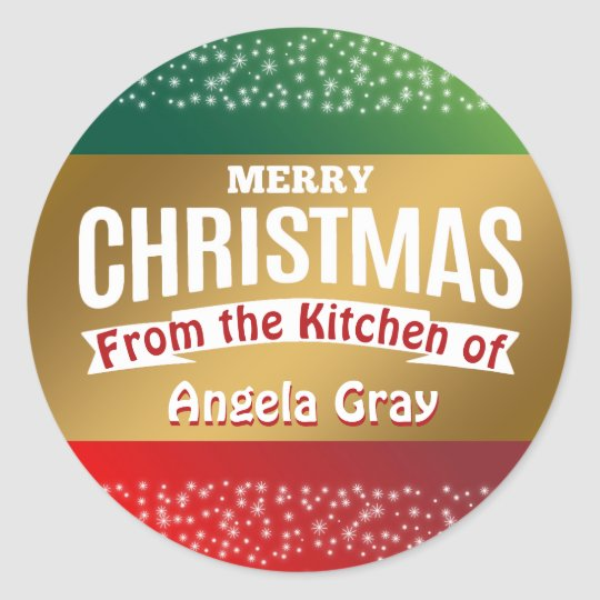 Red Green Gold Merry Christmas Holiday Baking Classic Round Sticker