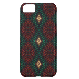 Red, Green & Gold Textured Diamonds Cover For iPhone 5C