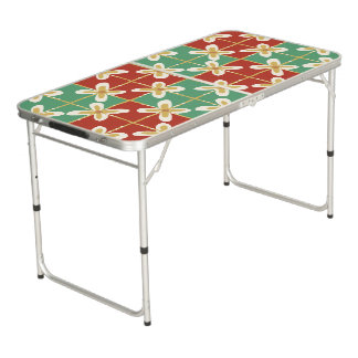 Red green golden Indonesian floral batik pattern Beer Pong Table