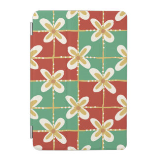 Red green golden Indonesian floral batik pattern iPad Mini Cover