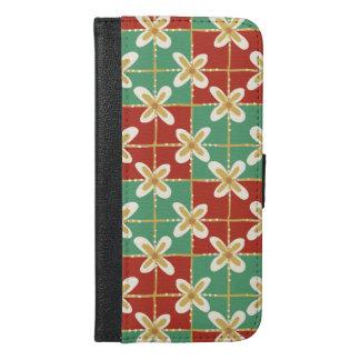 Red green golden Indonesian floral batik pattern iPhone 6/6s Plus Wallet Case