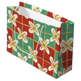 Red green golden Indonesian floral batik pattern Large Gift Bag