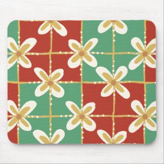Red green golden Indonesian floral batik pattern Mouse Pad