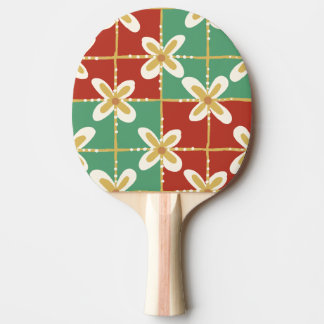 Red green golden Indonesian floral batik pattern Ping Pong Paddle