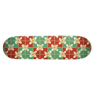 Red green golden Indonesian floral batik pattern Skateboard Deck