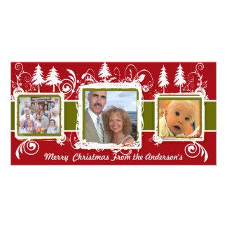 Red Green Grunge Pine Swirls Holiday Family Photo Card
