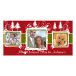 Red Green Grunge Pine Swirls Holiday Family Photo Photo Greeting Card