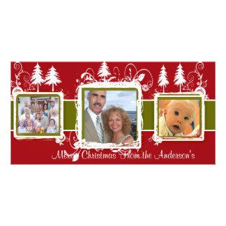 Red Green Grunge Pine Swirls Holiday Family Photo Photo Greeting Card