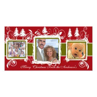Red Green Grunge Pine Swirls Holiday Family Photo Customised Photo Card