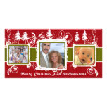 Red Green Grunge Pine Swirls Holiday Family Photo Personalized Photo Card