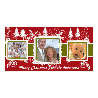 Red Green Grunge Pine Swirls Holiday Family Photo Photo Card Template