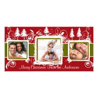 Red Green Grunge Pine Swirls Holiday Family Photo Photo Cards