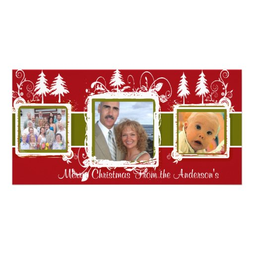 Red Green Grunge Pine Swirls Holiday Family Photo Customized Photo Card