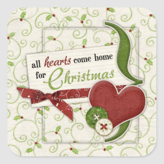 Red Green Hearts Holly Holiday Envelope Seal Square Sticker