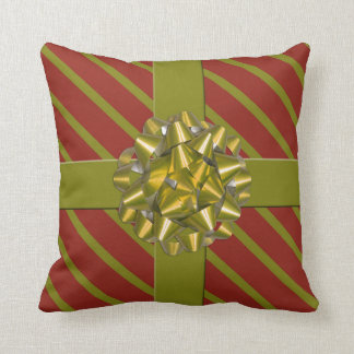 Red & Green Holiday Bow Christmas Throw Cushion