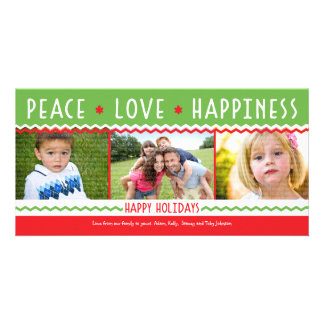 Red & Green Holiday Chevron Stripes 3 Photo Card