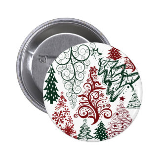 Red Green Holiday Christmas Tree Pattern Pins