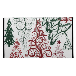 Red Green Holiday Christmas Tree Pattern iPad Folio Covers