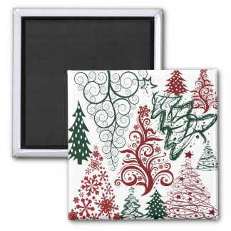 Red Green Holiday Christmas Tree Pattern Magnets