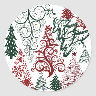 Red Green Holiday Christmas Tree Pattern Round Sticker