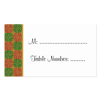 Red Green Holiday Fleur de Lis Custom Table Cards Business Card Template