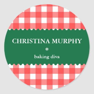 Red green holiday gingham homemade food label seal