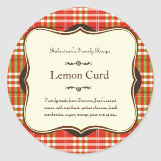 Red & Green Holiday Plaid Label Sticker