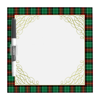 Red Green Holiday Plaid Pattern Dry Erase Board