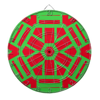 Red Green Holiday Themed Geometric Dartboard