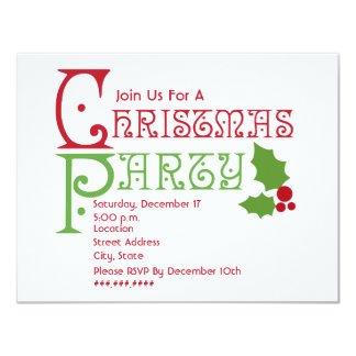 Red & Green Holly Christmas Party 11 Cm X 14 Cm Invitation Card