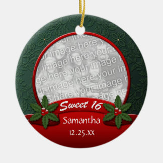 Red Green Holly Christmas Sweet 16 Ornament