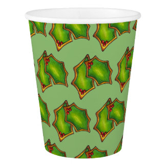 Red Green Holly Leaf Christmas Xmas Holiday Cookie Paper Cup
