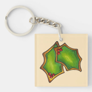 Red Green Holly Leaves Christmas Holiday Cookie Key Ring