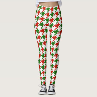 red & green houndstooth pattern leggings