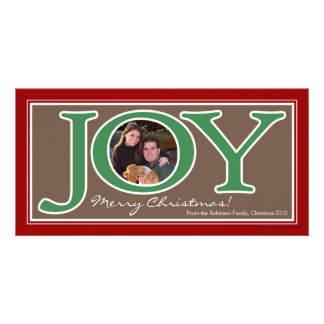 Red+Green Joy Circle Frame Christmas Photo Cards