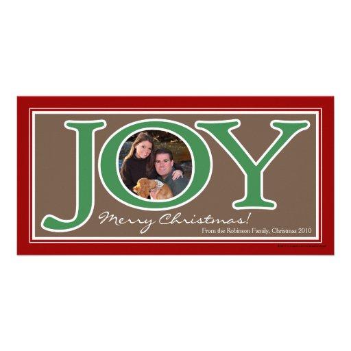 Red+Green Joy Circle Frame Christmas Photo Cards