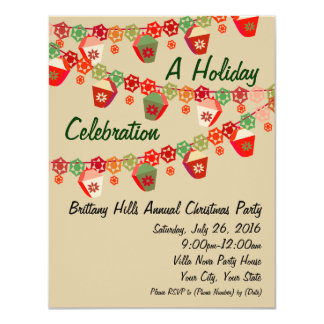 Red + Green Lanterns Custom Christmas Invitations