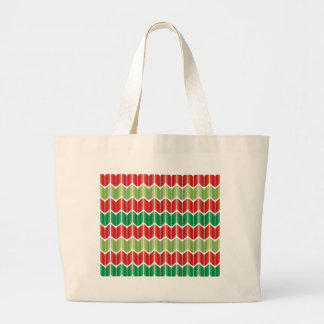 Red Green Large Knit Tote Bags