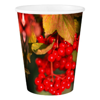 Red Green Leaf Berry Berries Paper Cup