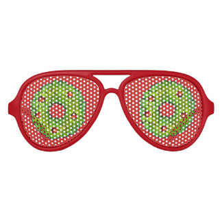 Red Green Merry Christmas Holly Wreath Cookie Xmas Aviator Sunglasses