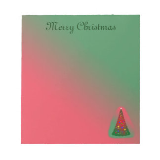 Red Green Merry Christmas Tree Notepad
