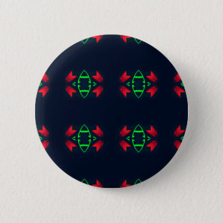 Red Green Modern Christmas on Black Background 6 Cm Round Badge