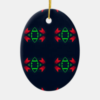 Red Green Modern Christmas on Black Background Ceramic Oval Decoration
