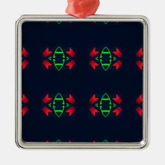 Red Green Modern Christmas on Black Background Silver-Colored Square Decoration