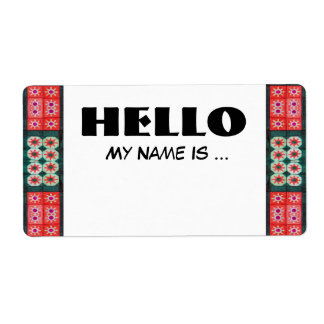 Red Green Name Badge Shipping Label