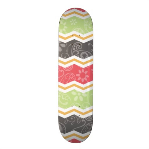 Red, Green, Orange, and Gray Paisley Chevron Custom Skate Board