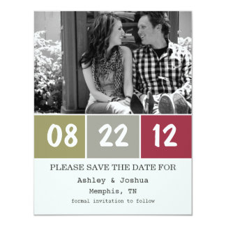 Red & Green Palette Save The Date Announcements