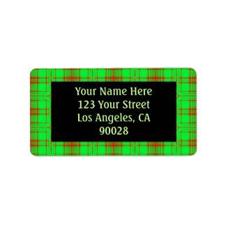 red green pattern address label