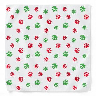 Red Green Paw Prints Pattern on White Holiday Bandana
