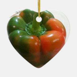 Red & Green Pepper Ceramic Heart Decoration